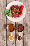 Sausages and ingredients. Royalty Free Stock Photos