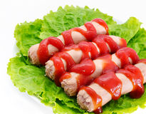 Sausages with ketchup Stock Photo