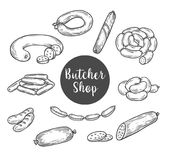 Sketch for butcher shop with wurst and sausage. Sausages and kielbasa, wurst sketch for butcher shop . Ham salami and lyon sausage bundle or curry wursts. farm Royalty Free Stock Photo