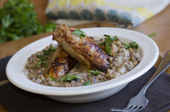 Sausages with lentils Stock Images