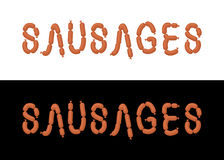 Sausages. Letters from sausages. Font from meal Stock Photo