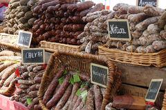 Sausages on the market Royalty Free Stock Images