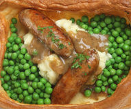 Sausages, Mash & Peas Stock Photography
