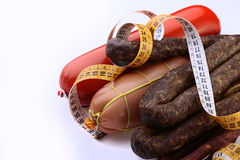 Sausages with a measuring tape Royalty Free Stock Images