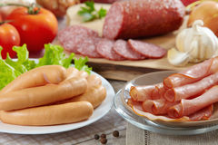 Sausages and meat Royalty Free Stock Photography