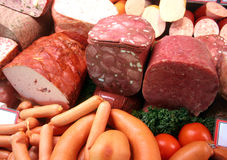 Sausages and meat. German sausages and meat seen in a butchery stock images