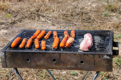 Sausages and Meat on the Barbecue Grill Stock Photo