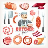 Sausages meat butcher store grocery market stock photo
