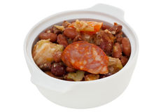 Sausages and meat with red beans Royalty Free Stock Photos