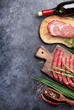 Sausages, meat, red wine Stock Photo