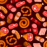 Sausages and meat seamless pattern background. Sausages and meat products seamless pattern. Vector pattern of delicatessen bacon, salami, delicatessen, pepperoni Stock Photo