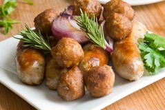 Sausages and meatballs Royalty Free Stock Photography