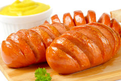 Sausages, mustard and bread Royalty Free Stock Photos