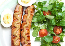 Sausages with mustard, egg, salad and tomatoes Stock Images