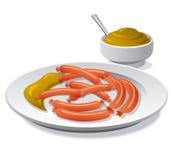 Sausages with mustard Stock Photos