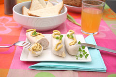 Sausages with mustard. Some fresh sausages with mustard Royalty Free Stock Images