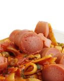 Sausages with noodles Royalty Free Stock Photography