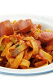 Sausages with noodles Royalty Free Stock Image