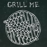 Sausages and Onion on The BBQ Grill. Lettering Grill Me. Barbecue Logo.  on a Black Chalkboard Background Royalty Free Stock Photography