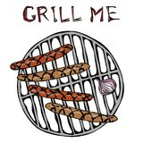 Sausages and Onion on The BBQ Grill. Lettering Grill Me. Barbecue Logo. Isolated On a White Background. Realistic Doodle Cartoon S Royalty Free Stock Images
