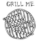 Sausages and Onion on The BBQ Grill. Lettering Grill Me. Barbecue Logo. Isolated On a White Background. Realistic Doodle Cartoon S Stock Photography