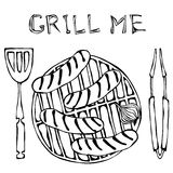 Sausages and Onion on The BBQ Grill. Lettering Grill Me. Barbecue Logo. Isolated On a White Background. Realistic Doodle Cartoon S vector illustration