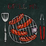 Sausages and Onion on The BBQ Grill. Lettering Grill Me. Barbecue Logo.  On a White Background. Realistic Doodle Stock Images