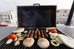Urban Rofftop Grillin' Stock Image