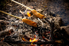 Sausages on the Open Fire Royalty Free Stock Photo