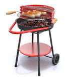 Sausages over a barbecue grill. Bratwurst sausages over a barbecue grill on white background - 3D illustration Stock Photos