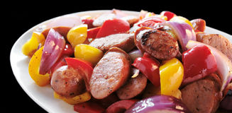 Sausages and peppers Royalty Free Stock Photography