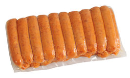 Sausage packaging. Isolated Stock Image