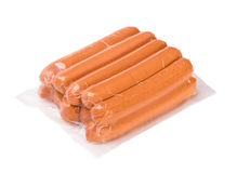 Sausages in a plastic package royalty free stock photos
