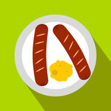 Sausages on a plate flat icon Royalty Free Stock Image