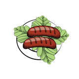 Sausages on a plate with salad Stock Photos