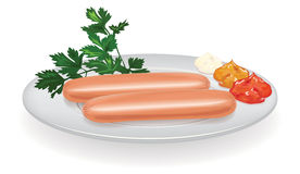 Sausages on a plate vector illustration Royalty Free Stock Photo