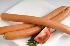 Sausages on a white background Stock Photo