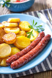 Sausages with potato Royalty Free Stock Photo