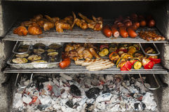 Sausages, poultry, shashlik grilled on a barbeque Stock Photos
