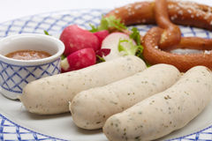 Sausages with pretzel Royalty Free Stock Photography