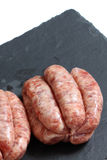 Sausages raw slate Royalty Free Stock Image