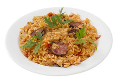 Sausages with rice Stock Image