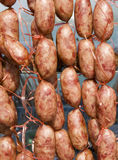 Sausages at roadside market Royalty Free Stock Photography