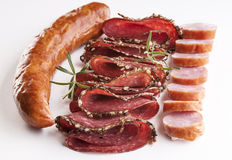 Sausages and salami Royalty Free Stock Photography