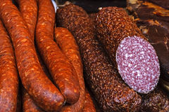 Sausages and salami 1 Royalty Free Stock Images