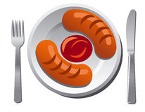 Sausages with sauce Royalty Free Stock Image