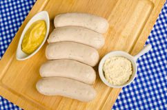Sausages and sauces Royalty Free Stock Photography