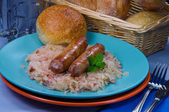 Sausages on Sauerkraut Royalty Free Stock Images