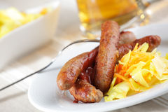 Sausages with sauerkraut and beer Stock Images