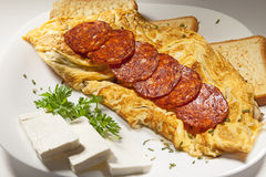 Sausages and Scrambled Eggs Stock Photography